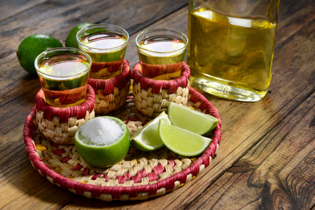 Tequila shoots served in mexican style Stock Photo
