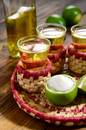 Tequila shoots served in mexican style photo