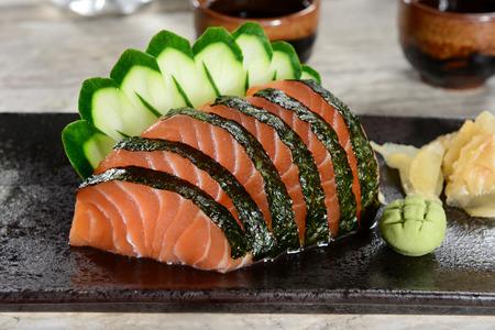 Sashimi wrapped on nori