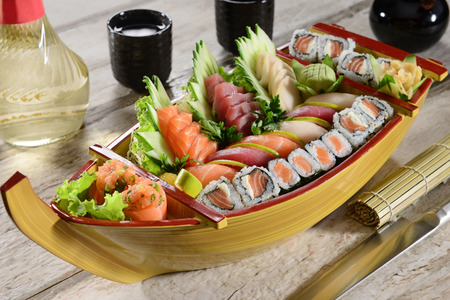 Boat of Japanese food
