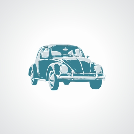antique car: Antique Car Illustration Beetle stylized in two tones.