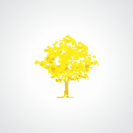 Illustration of tree stylized yellow in shades of yellow and gold