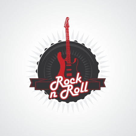 heavy metal: rock n roll logo in vector seal and band