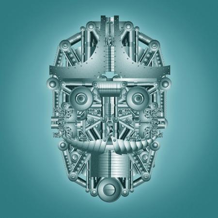 Illustration of head rob ciberntico Stockfoto