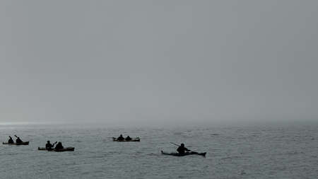 Kanu trip in the arctic sea Standard-Bild