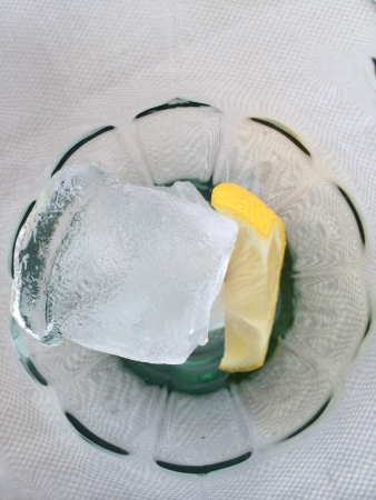 Glass with ice and lemon