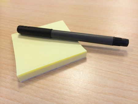 nota: Sticky notes with pen Stock Photo