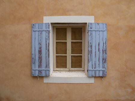 Roussillon hill village rustic window blue ocher Provence France