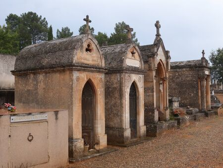 The local Pale orange stone mausoleums in Roussillon Provence France
