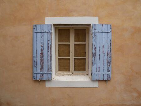 Roussillon hill village rustic window blue ocher Provence France