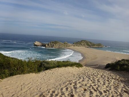 Garden Route Robberg Nature Reserve beatiful beach 版權商用圖片 - 128725395