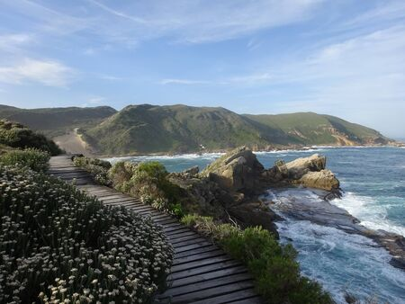 Garden Route - Robberg Nature Reserve - Wooden walkway leading down to beautiful beach and ocean 版權商用圖片 - 128725398