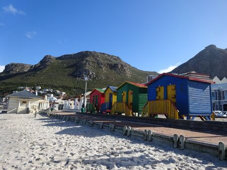 Colorful beach houses in Muizenberg, Cape Town, Western Cape, South Africa