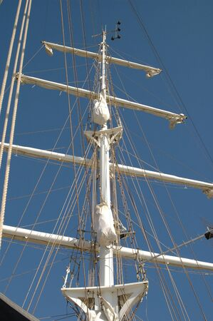 Big mast and and ropes of the of a big classic sailship