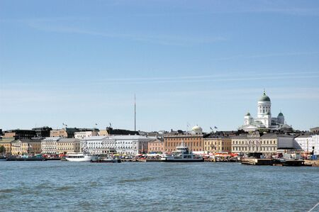 View of buildings and cathedral from Helsinki bay