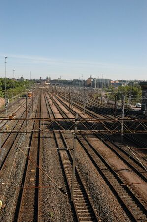 Group view of train tracks on arrival at Helsinki station