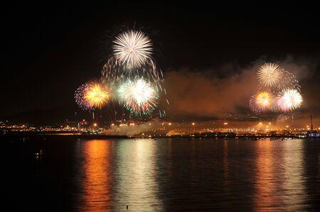 Fireworks opening Malaga August fair by the sea 版權商用圖片
