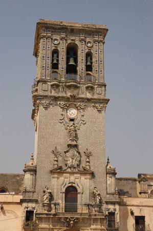 Tower and facade of the Minor Basilica of Santa Mar�a de la Asunci�n in Arcos de la Frontera