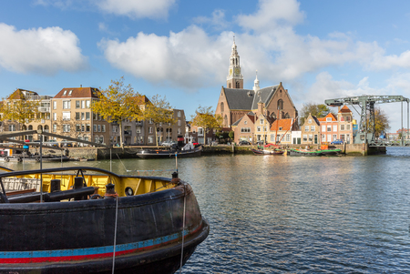 View over the water on the Marnixkade, Maassluis, The Netherlands Stock Photo