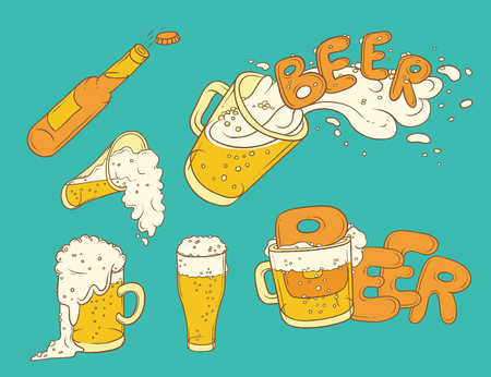 Vector set sketch illustration pint, tumbler and bottle of beer. Bubbles and foam pouring from mug. Drink ale in different glassware. Letters form the inscription and splashing in alcoholic beverage
