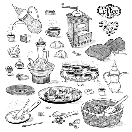 Vector sketch set drawing Arabic cup and coffeepot, vintage coffee grinder, Oriental sweets, roasted coffee beans. Illustration black and white items of the Ethiopian coffee ceremony. Engraving style Illustration