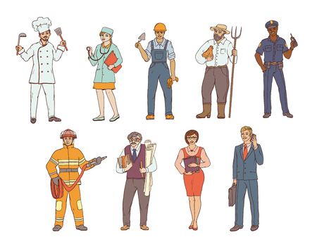 People of various professions in overalls and with tools in hand. Vector colored sketch of a realistic illustration. Women and men working in different sectors of production and services. Vettoriali