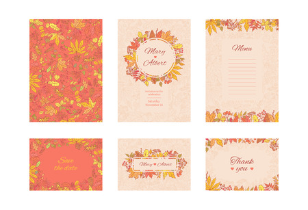 Vector suite wedding invitation card. Set frame cards with autumn leaves and berries. Collection decorative design concept in pastel and bright colours. Invite to an anniversary or birthday.