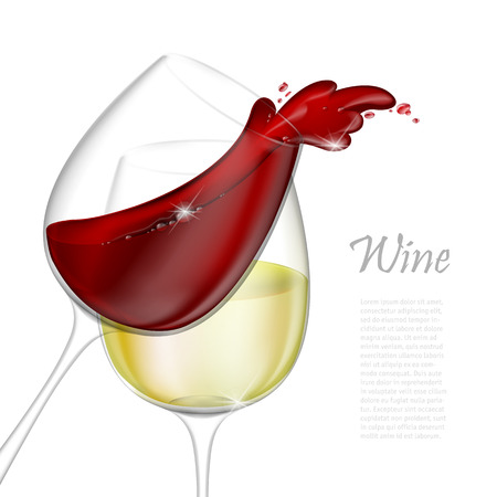 3d realistic vector illustration. Transparent isolated wineglass with red and white wine. Red wine pouring out of a glass splash