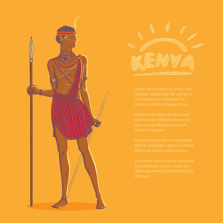 Vector color illustration. Armed african warrior of the Masai tribe in traditional clothes and jewelry on a bright background and space for advertising text. Tourism in Kenya and Tanzania.