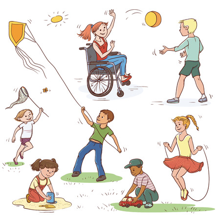 Vector color set of sketch illustration of children. Girl in wheelchair ball game with the boy, the child catches a butterfly net, launches a kite. Jumping rope and playing in the sandbox. Ilustração