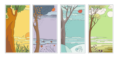 Set bright flat vector natural backgrounds. Four seasons. Hot summer day, rainy autumn falling leaves, frosty snowy winter twilight in the forest and sun flower fields. Landscape at 4 times the year