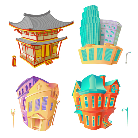 Bright color vector set illustrations old architecture Victorian epoch and Baroque, Chinese pagoda and modern high-rise residential or office buildings. Collection isolated houses in cartoon style.