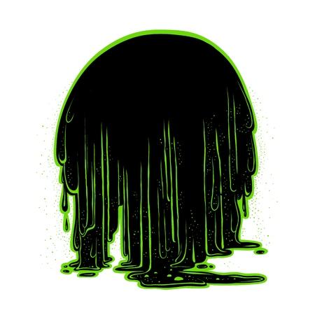 The flow of luminescent glowing green radioactive sludge.