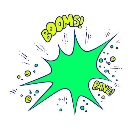 Illustrazione vettoriale colorato in stile pop art. I suoni della musica ad alto volume Boom e Bang. Audio vivido del disegno di schizzo isolato su fondo bianco. Dall'esplosione volano emoticon e note.