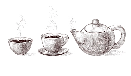 Vector black and white sketch illustration of fresh brewed hot and flavored morning coffee and tea from teapot in cup.