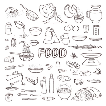 Vector black and white sketch collection set food products, beverages, kitchen utensils, various dishes and cutlery. Cooking pasta, pour olive oil and honey. Fresh vegetables, flour and grain in bag Illustration