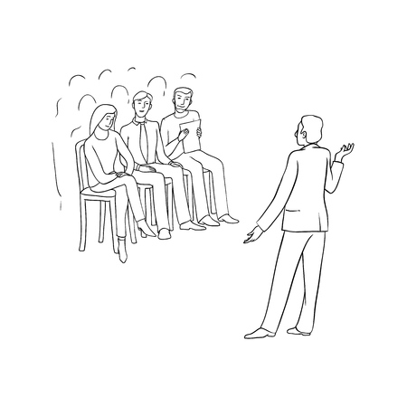 Vector sketch black contour isolated illustration of business people. Women and men at conference, meeting and negotiations. A speaker at lecture or session. The audience listens to a presentation. Illustration