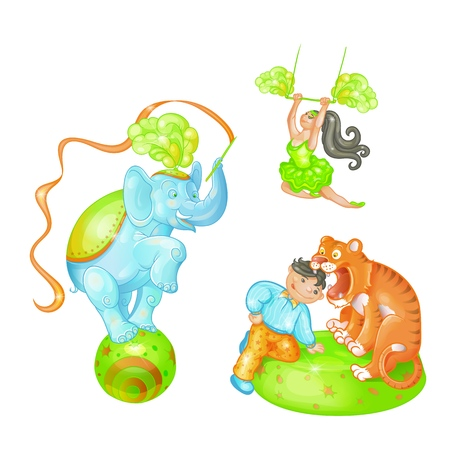 Vector bright illustration of the cartoon elements of a circus show on white background. A trained elephant on the ball, tiger and tamer, an air gymnast. Artists performing on stage