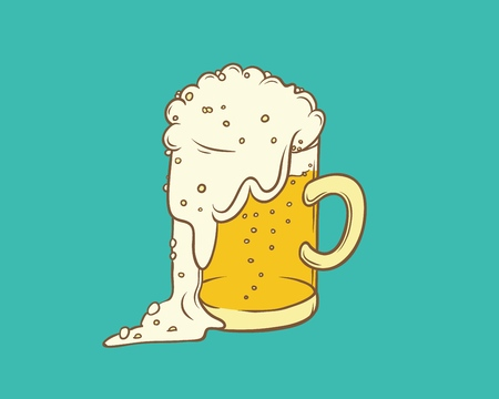 Vector isolated color sketch illustration pint, tumbler of beer. Bubbles and foam pouring from mug. Drink alcoholic beverage in glassware.