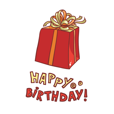 Happy Birthday. vector image gift box with ribbon and bow on a white background. Illustration