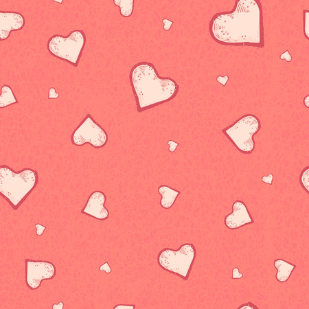 The vector seamless pattern of the heart on pastel pink grunge background. Romantic confession of love.