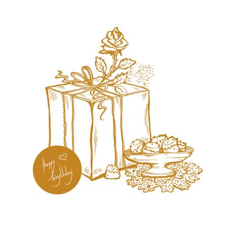 Happy Birthday Vector Golden Sketch Illustration Of Gift Box