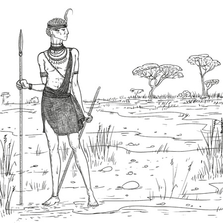 Vector sketch illustration. Armed warrior of the Masai tribe in traditional clothes and jewelry against the background of the savannah landscape. African people living in Kenya and Tanzania.