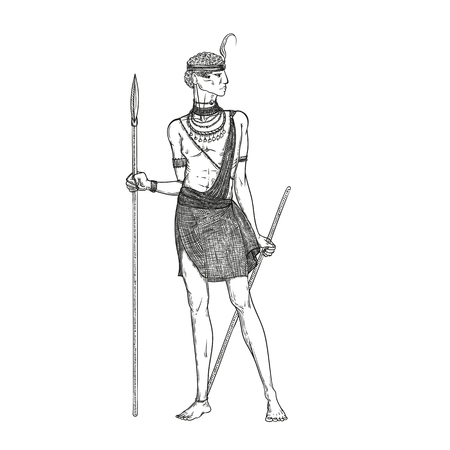 Vector sketch illustration on a white background. Armed with a spear warrior of the Masai tribe in traditional national clothes and jewelry. Indigenous African people living in Kenya and Tanzania. Illusztráció