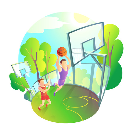 man in sportswear playing basketball on outdoor playground. Active roll the ball in the basket