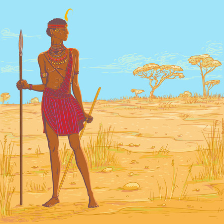 Vector color illustration. Armed with spear warrior of the Masai tribe in traditional clothes and jewelry against the background of the savannah landscape. African people living in Kenya and Tanzania