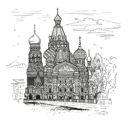 Vector sketch illustration. Tourist showplace. Sobor Resurrection on Spilled Blood or Church of Our Savior in St. Petersburg, Russia