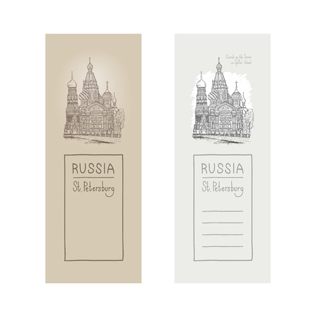 Vector sketch illustration of a design element postcards. Tourist showplace. Sobor Resurrection on Spilled Blood or Church Our Savior in Saint Petersburg, Griboyedov canal, Russia. Illustration