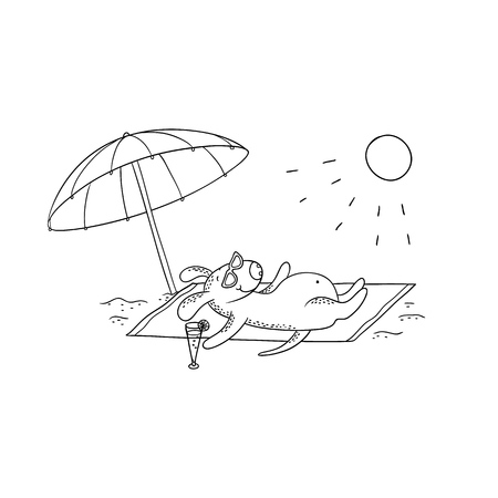 Vector black-white sketch funny cartoon puppy. Character dog sunbathing in the sun on the beach under a large umbrella. Beach rest and relaxation by the sea. Illustration for design calendar, card.