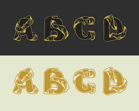 Vector decorative sketch alphabet set of uppercase letters. Gold elegant letter A, B, C, D. Font of interlocking ribbons drawn by hand and decorated with a pattern of curls. Illusztráció